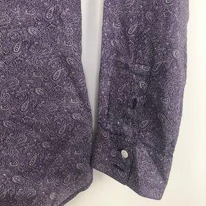 John Varvatos Shirts - John Varvatos Paisley Button Shirt Purple Large